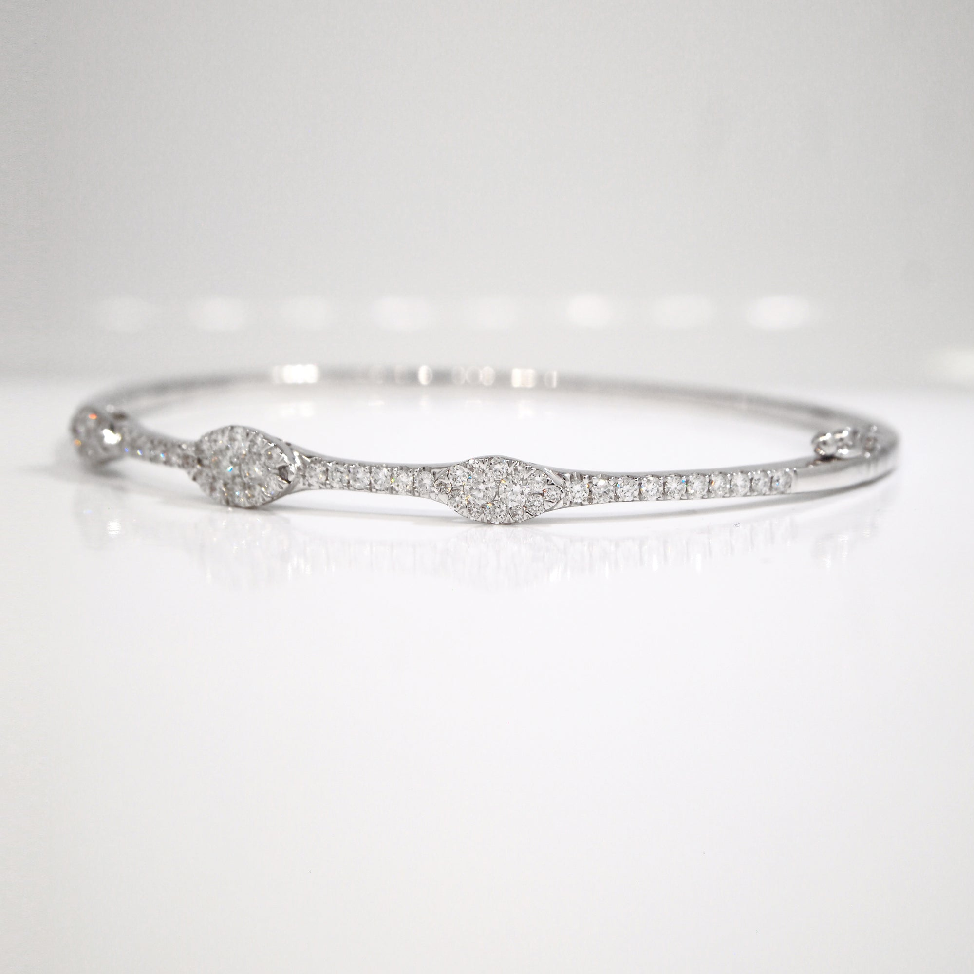 14K White Gold Marquis Shaped Diamond Bangle