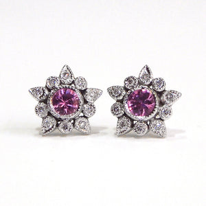 18K White Gold Pink Sapphire Star Earrings