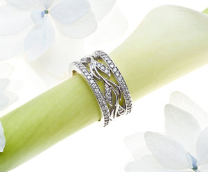 Angled View of White Gold Diamond Wedding or Annivesary Band with Pave Set Round Brilliant Diamonds