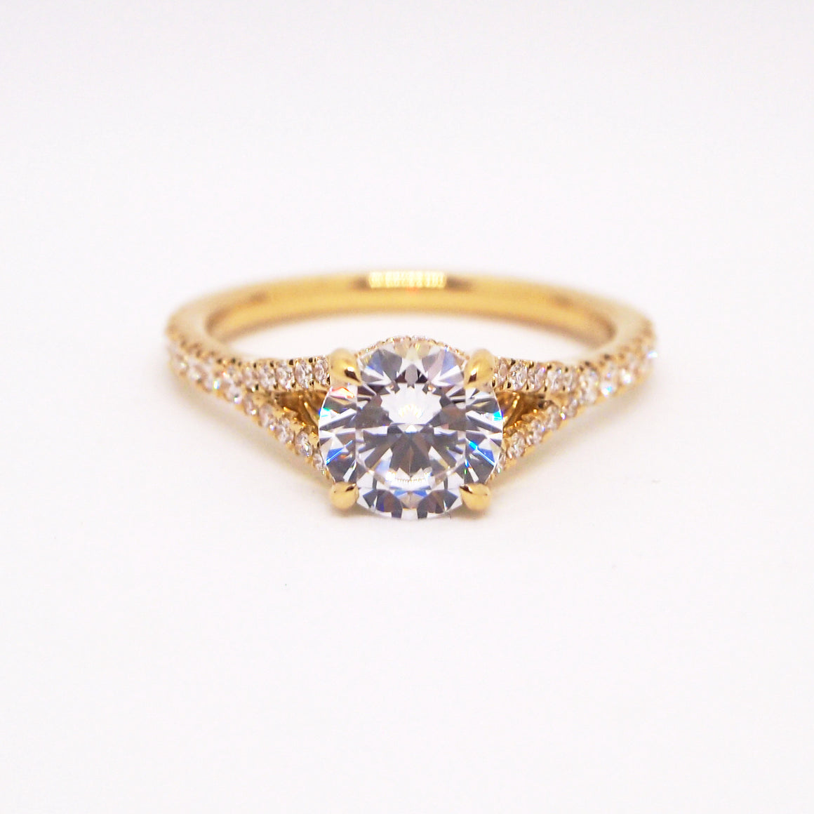 Point Of Love 18K Yellow Gold Split Shank Diamond Engagement Ring With Diamond Point