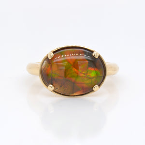 14K Yellow Gold Ammolite Ring