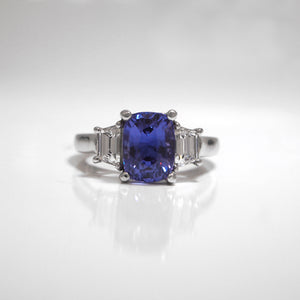 Platinum Color-Change Blue Purple Sapphire And Ring