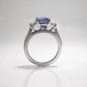 Platinum Color-Change Blue Purple Sapphire And Diamond Ring
