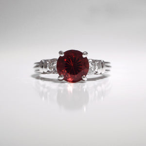 Platinum Oregon Sunstone And Diamond Ring