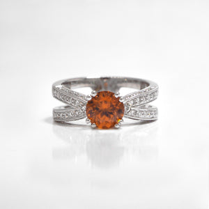 18K White Gold Root Beer Zircon And Diamond Ring