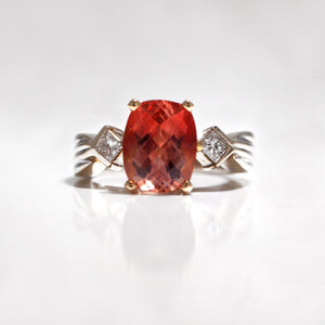 18K Two-Tone Oregon Sunstone And Diamond Ring