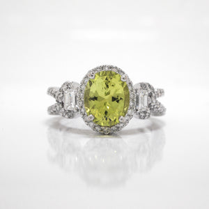 18K White Gold Chrysoberyl And Diamond Ring
