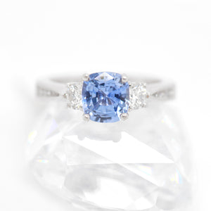 Platinum Cornflower Blue Sapphire And Diamond Engagement Ring