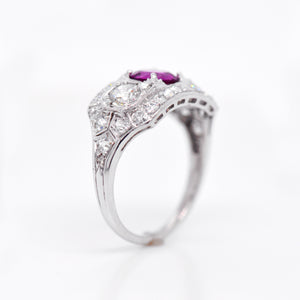 Antique Art Deco Platinum Pink Sapphire And Diamond Ring