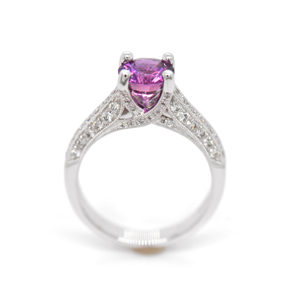 18KW Purple Sapphire And Diamond Ring in a 4-prong setting judith arnell jewelers pdx