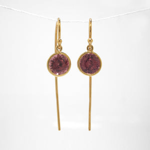 18K Yellow Gold Pink Zircon Earrings