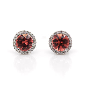 14K White Gold Tanzanian Rhodolite Garnet Earrings