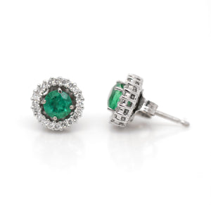 14K White Gold Emerald Studs with Diamond Earring Jackets