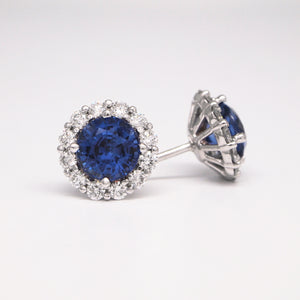 18K White Gold Sapphire Earrings With Diamond Halo