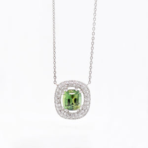 14K White Gold Green Sapphire And Diamond Necklace