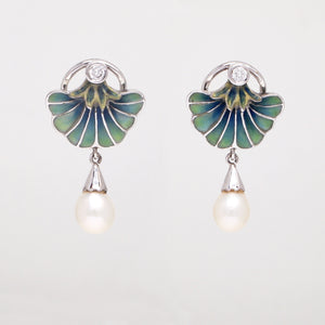 Nouveau 1910 18k white gold floral enamel earrings with drop pearls and round brilliant diamonds weighing a total of 0.25 carats.