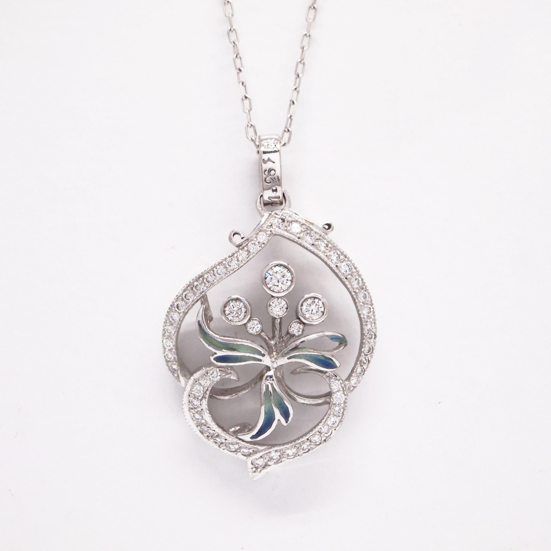 "Nouveau 1910 18k white gold ""Arctic collection"" pendant set with 59 round diamonds weighing a total of 0.93 carats."