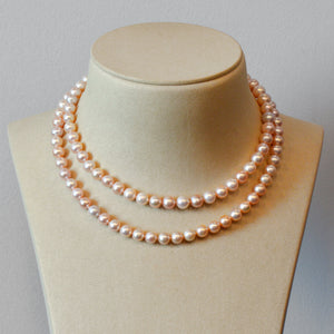 Pink Akoya Pearl Strand Necklace With 18K Yellow Gold Clasp