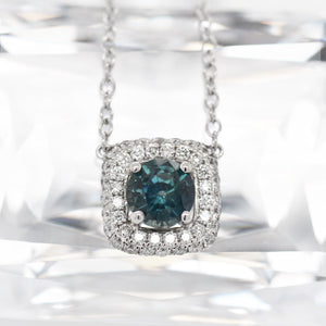 18K White Gold Blue-Green Sapphire and Diamond Necklace