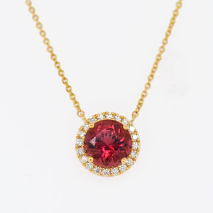 18K Yellow Gold Rubellite Tourmaline And Diamond Halo Necklace