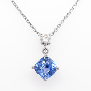 14K White Gold Unheated Burmese Pastel Blue Sapphire And Diamond Necklace