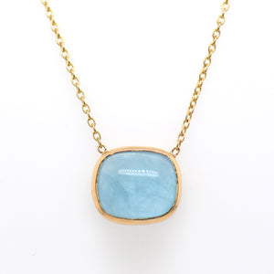 14K Yellow Gold Cabochon Aquamarine Necklace