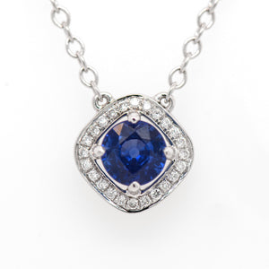 18K White Gold Blue Sapphire And Diamond Halo Necklace