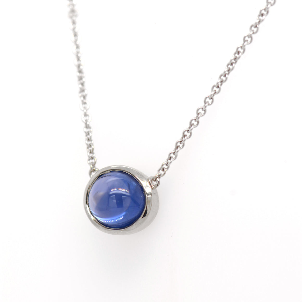 14K White Gold Cabochon Sapphire Necklace