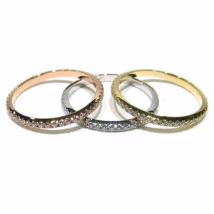 White, Yellow, & Rose Gold Micro Pave Set Diamond Eternity Band Set