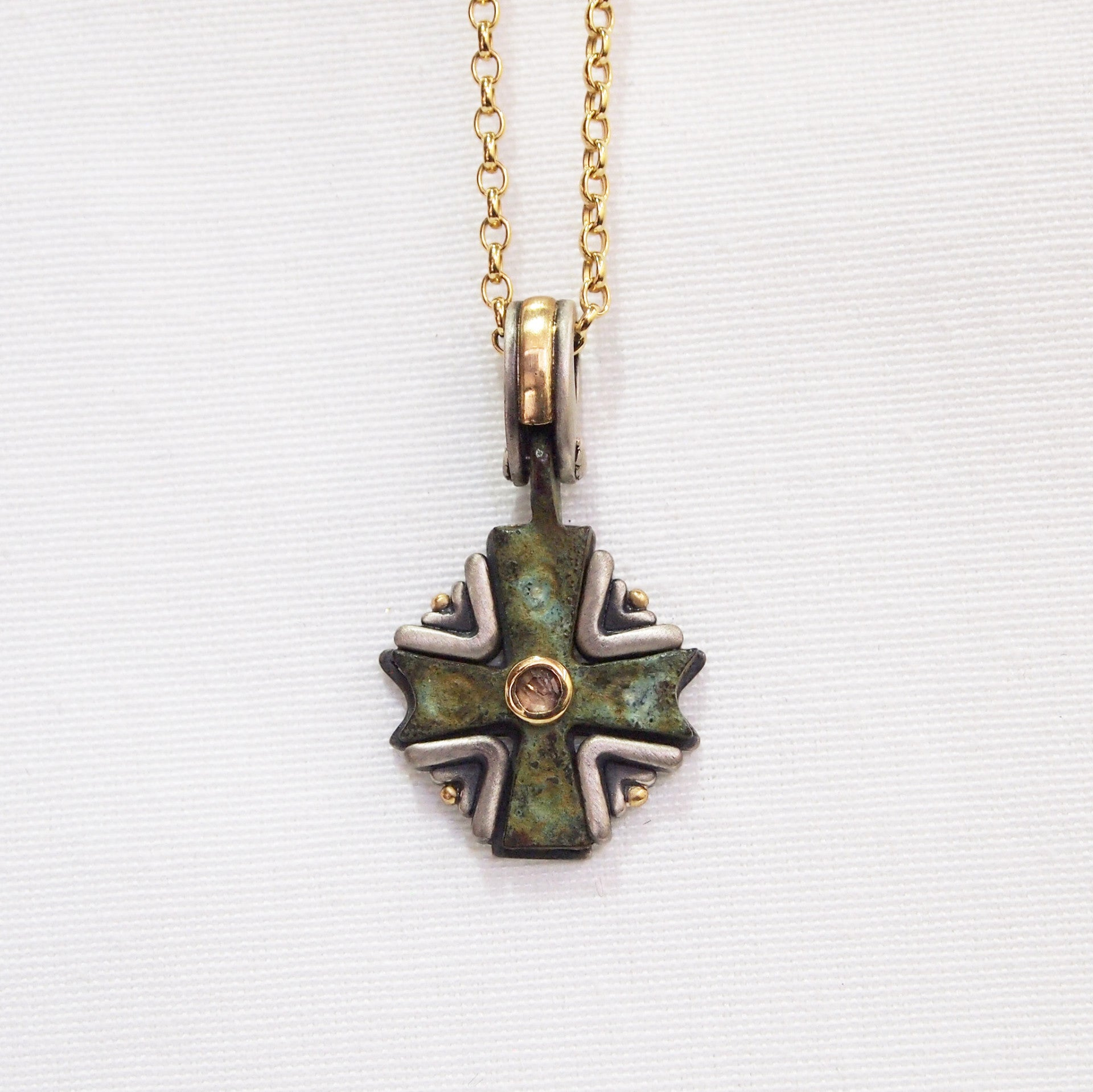 Byzantine period bronze cross pendant with diamond judith arnell byzantine period bronze cross pendant encrusted in yellow gold and sterling silver mozeypictures Images