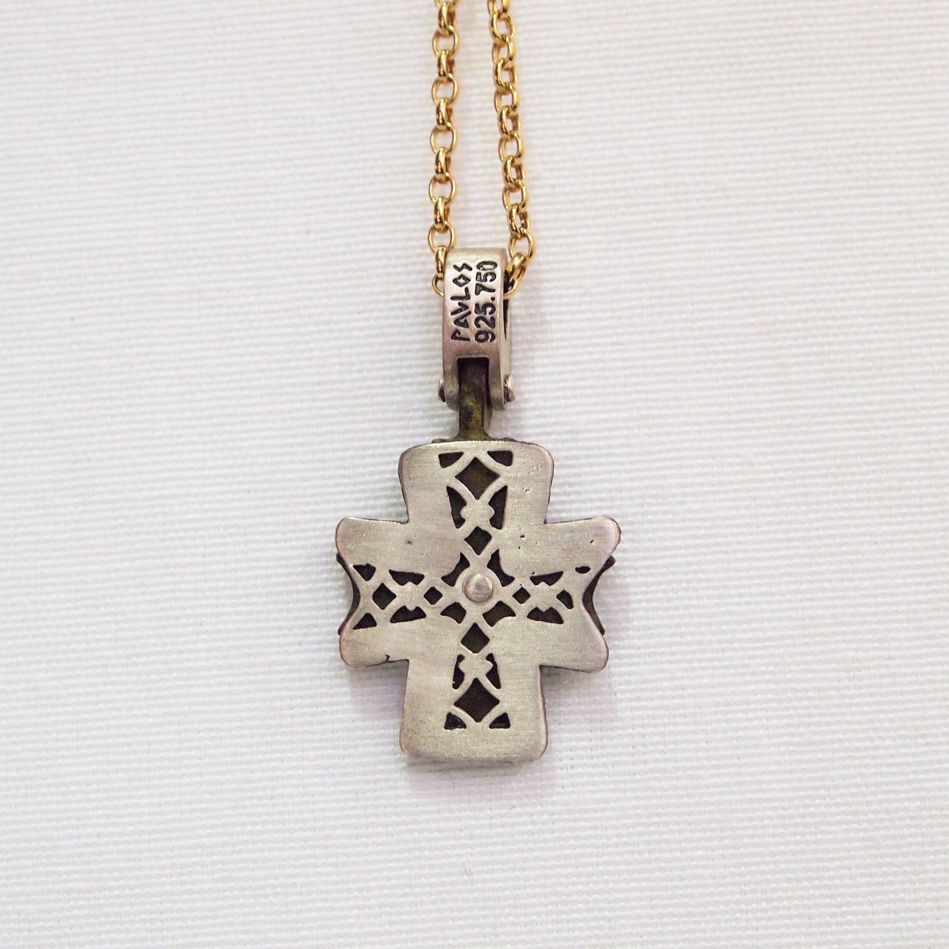 Original Byzantine period bronze cross pendant encrusted in sterling silver and yellow gold