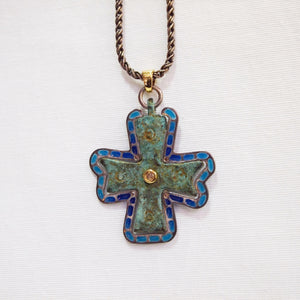 Byzantine Period Bronze Cross Pendant In An Enamel Frame