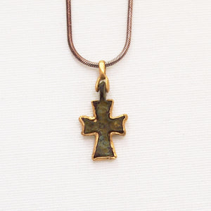 Byzantine Period Bronze Cross Pendant Encrusted In Yellow Gold