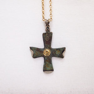 Byzantine Period Bronze Cross Pendant Encrusted In Yellow Gold And Sterling Silver