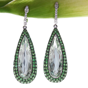 18K White Gold Tsavorite Garnet, Green Amethyst, Diamond Earrings