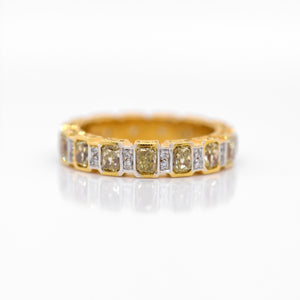 18K Yellow And White Gold Radiant Yellow Diamond Eternity Band