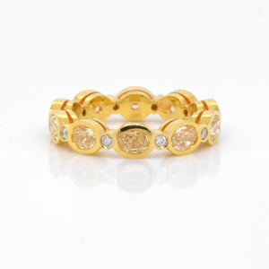 18K Yellow Gold Oval Yellow Diamond Eternity Band