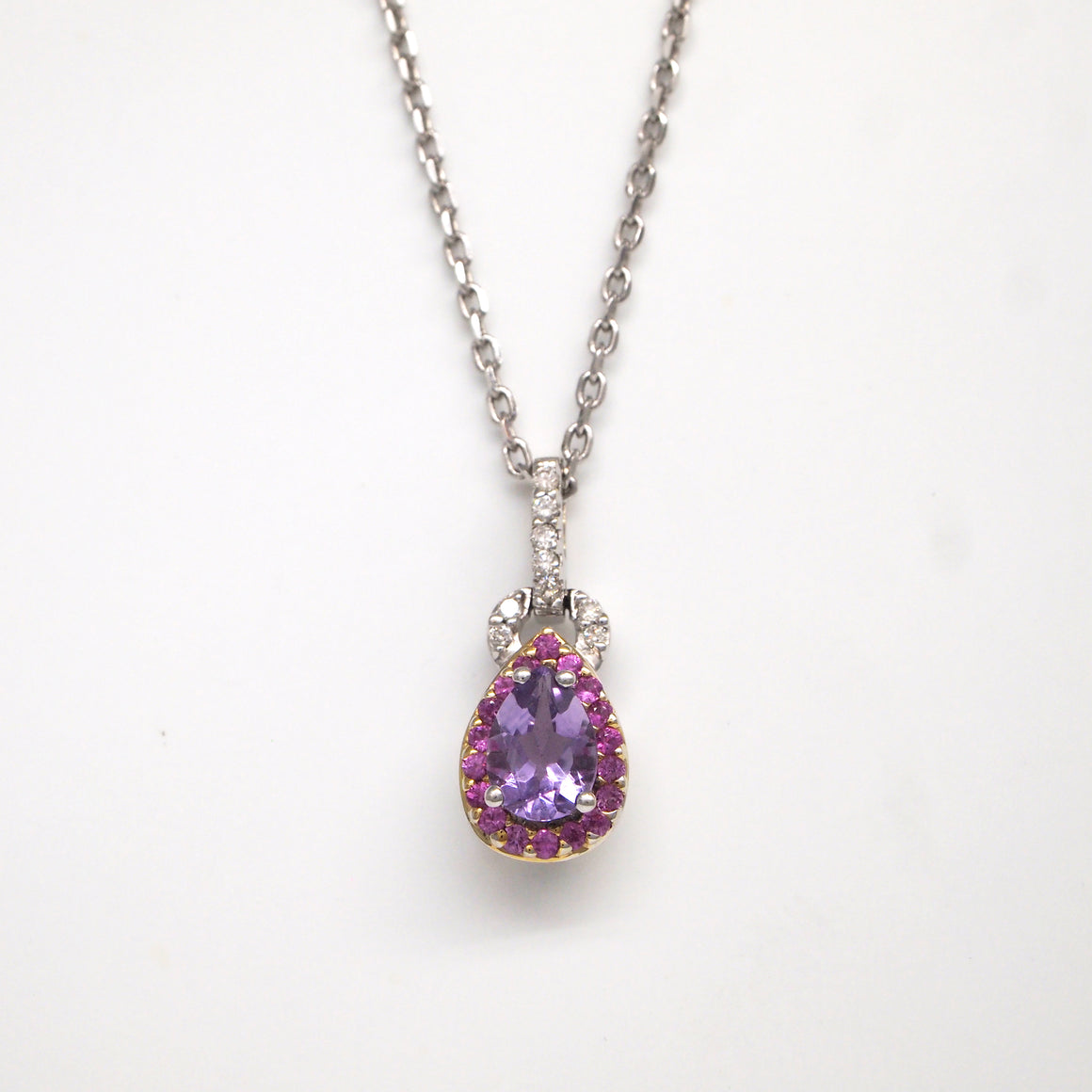 18K White Gold Amethyst, Pink Sapphire, And Diamond Pendant