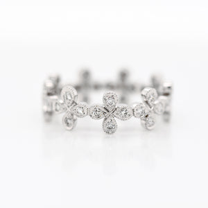 18K White Gold Flower Diamond Eternity Band
