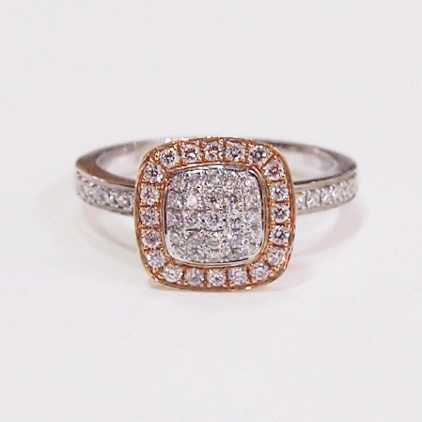 "18K rose and white gold ""Mini-Grande"" diamond engagement ring with 61 round brilliant diamonds"