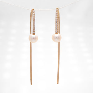 14K Yellow Gold Floating Pearl And Diamond Earrings