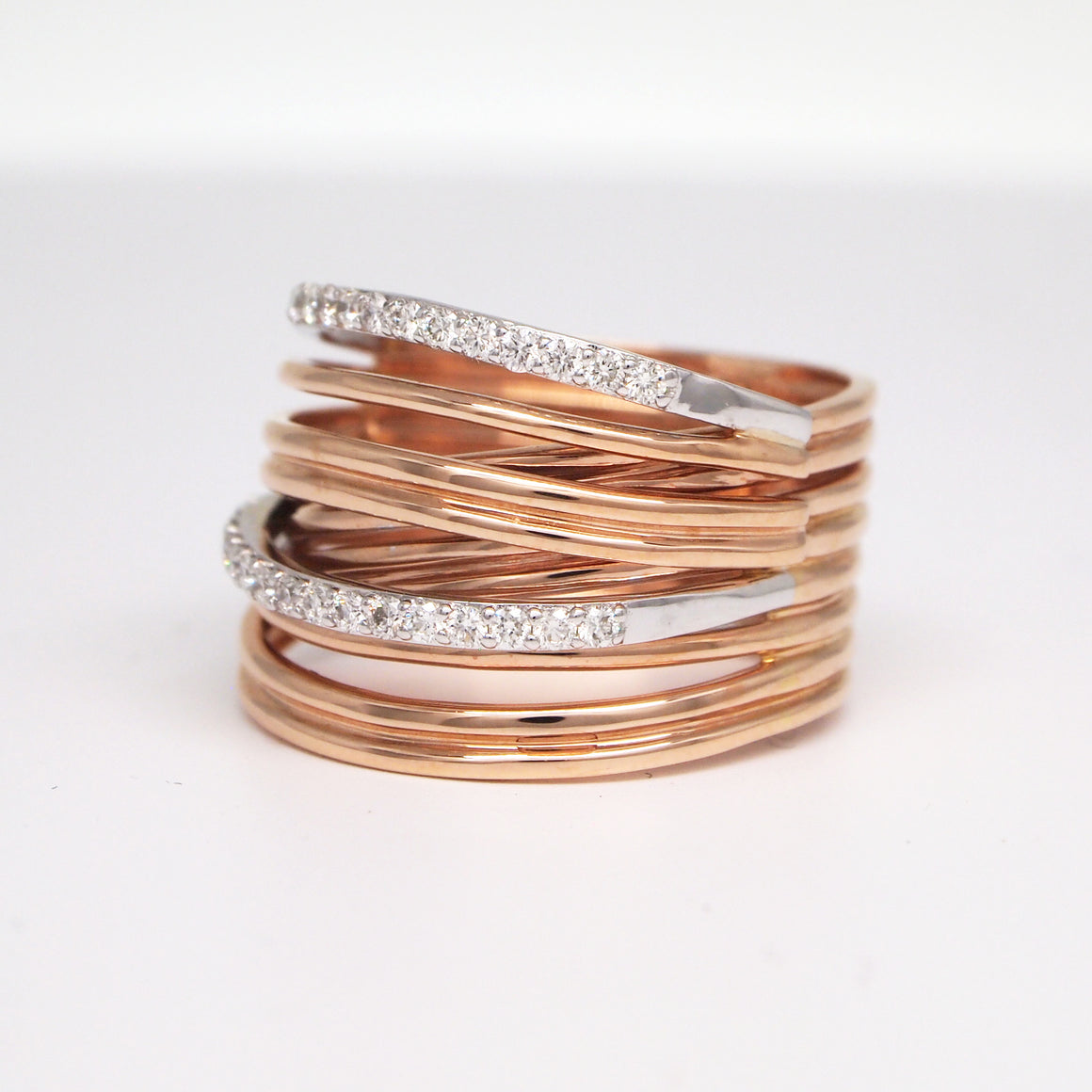 14K White and Rose Gold Diamond Band
