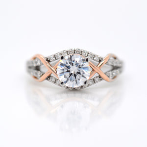14K White And Rose Gold Diamond Engagement Ring
