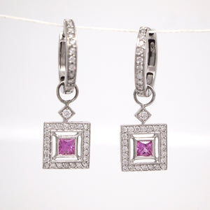18K White Gold Pink Sapphire And Diamond Huggie Earrings