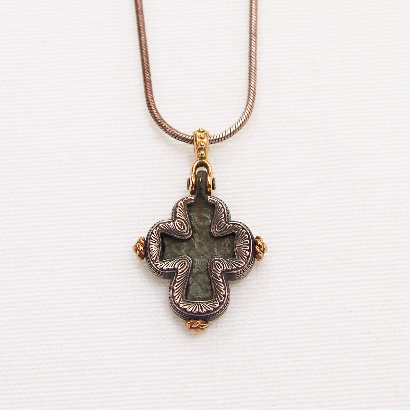 Byzantine period bronze cross pendant judith arnell jewelers byzantine period bronze cross pendant encrusted in yellow gold and sterling silver mozeypictures Images