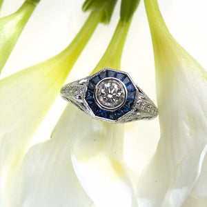 White Gold Vintage Style Round Brilliant Diamond and Baguette Sapphire Ring