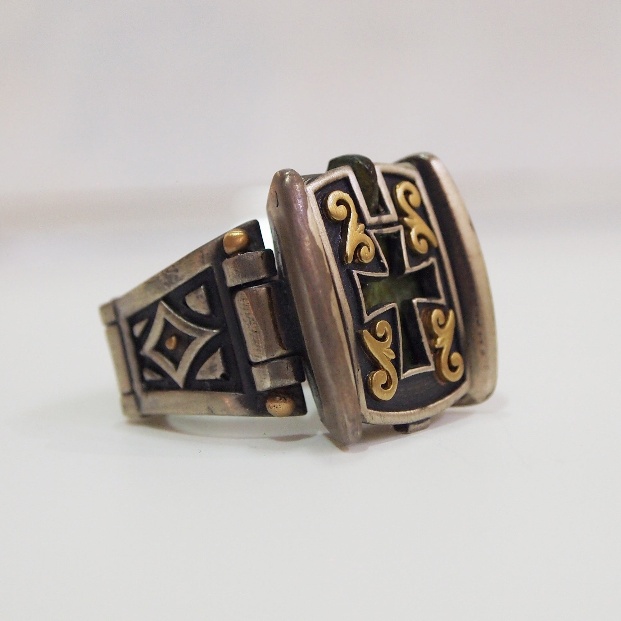 Byzantine Bronze Cross Compartment Ring