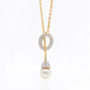 14K Two-Tone Pearl And Diamond Necklace