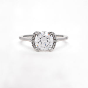 Platinum Crescent Diamond Halo Engagement Ring