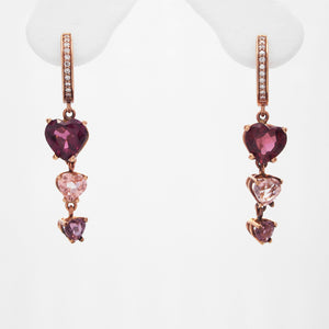 14K Rose Gold Trinity Heart Rhodolite, Tourmaline, And Diamond Earrings